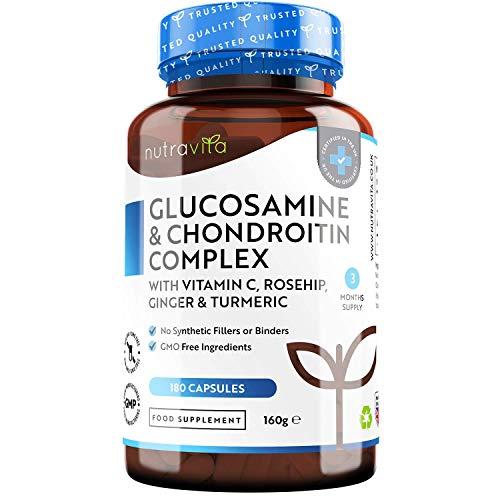 Glucosamine et Chondroïtine 2KCL Complexe avec Vitamine C pour système immunitaire - Extrait de Rose Musquée et de Gingembre - Curcuma - 180 capsules (3 mois de cure) - Fabriqué par Nutravita