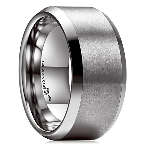 King Will Basic 10mm Tungsten Carbide Ring for Men Matte Polished Wedding Engagement Band Comfort Fit 12.5
