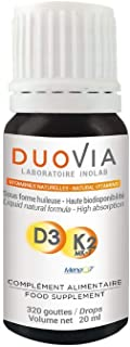 Vitaminas Naturales D3 K2 MK7| K + D = Eficiencia mejorada | 3 gotas = 1600 UI D3. 50 μg K2 | 320 gotas | SIN ADITIVOS | Forma vegetariana asimilable