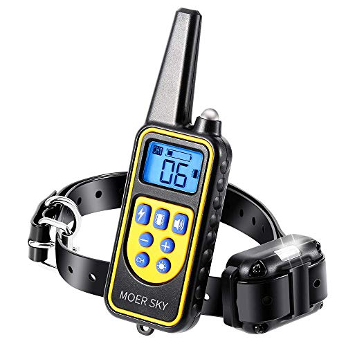 Moer Sky Dog Training Collar, 100% IPX7 Waterproof Rechargeable 875 Yards Remote Dog Shock Collar with LED Light/Beep/Vibration/Shock Modes, Dog Bark Collar for Small Medium Large Dogs