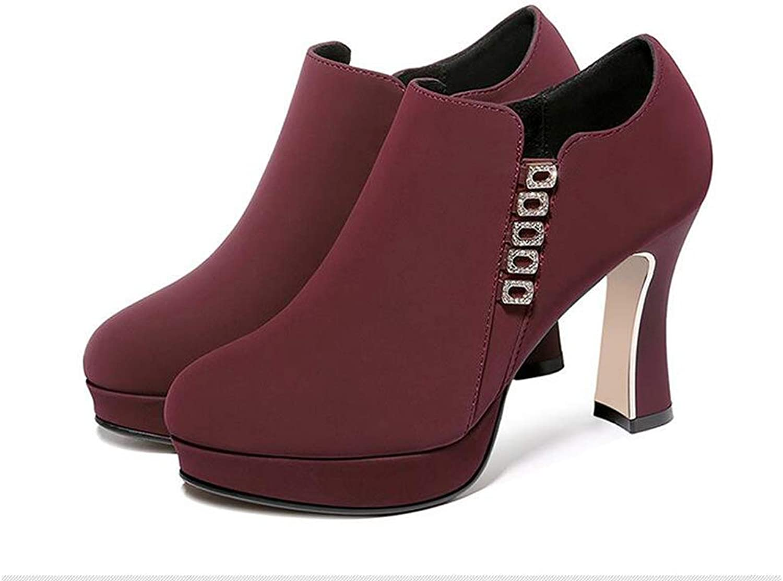 Booties Autumn and Winter Women's Fashion Stiletto Waterproof Platform Ladies Boots,Red,39
