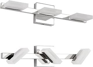 Letsun LED Vanity Light 3 Lights Bathroom Light LED Wall Light, Chrome, Frosted Acrylic, 360 Degrees Rotation, Warm White, 9W, 500LM