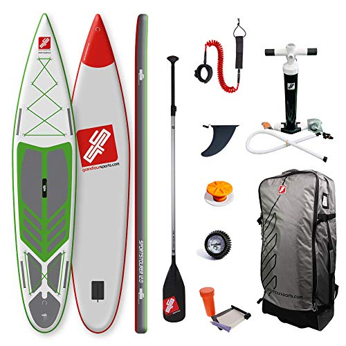 grandtoursports*com Stand Up Paddle Board and Paddle, 75 x 366 x 15 cm, 315 L, up to 95 kg, Inflatable SUP Stand Up Paddling Board GTS Sportstourer 12.0 GWG Including Accessory Set