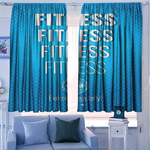 Lovii staaf pocket gordijnen en gordijn op maat Gordijnen Fitness Ik hou van Fitness Sport en Work Out Atletic Lifestyle Thema Oefening Gezondheid Lichtblauw Wit
