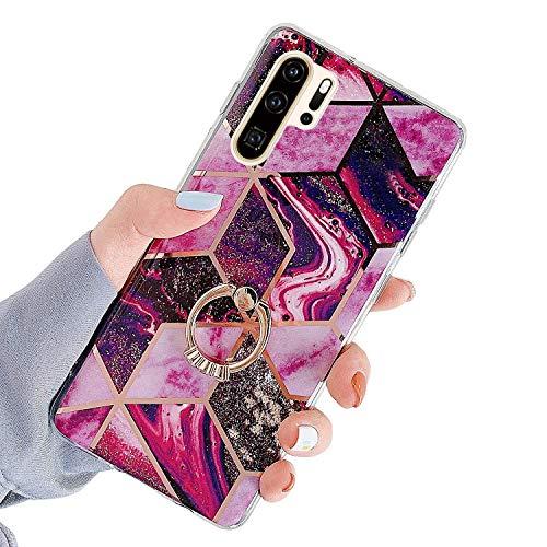 Herbests Kompatibel mit Huawei P30 Pro Hülle Handyhülle Glänzend Glitzer Bling Marmor Muster Silikon Schutzhülle Soft Stoßfest Handytasche mit Diamant Ring Halter Ständer,Rot Lila