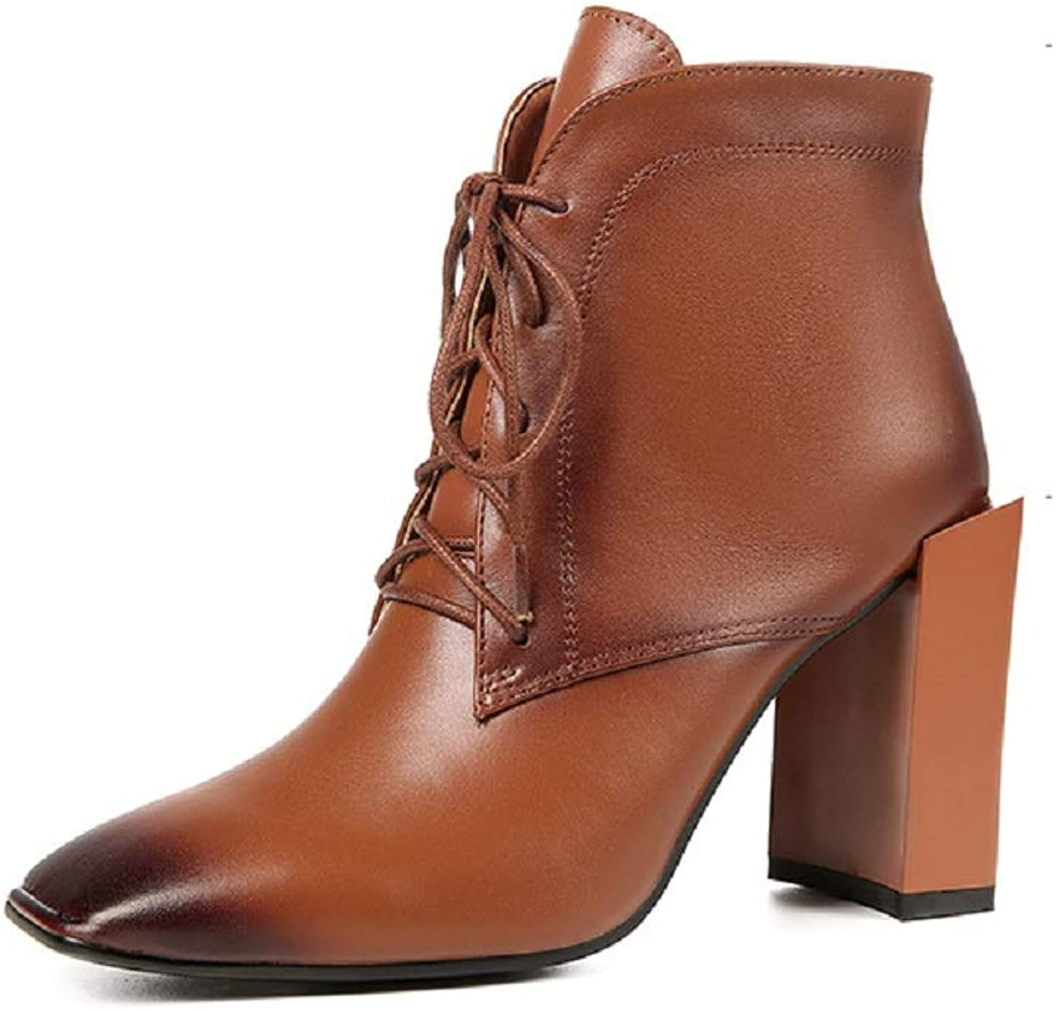 LingGT Chunky Heel Boots Women Leather Lace up Martin shoes (color   Brown, Size   CA 7)