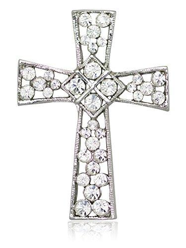 Akianna Swarovski Element Crystals Celtic Cross Pin Brooch Silver-Tone Clear