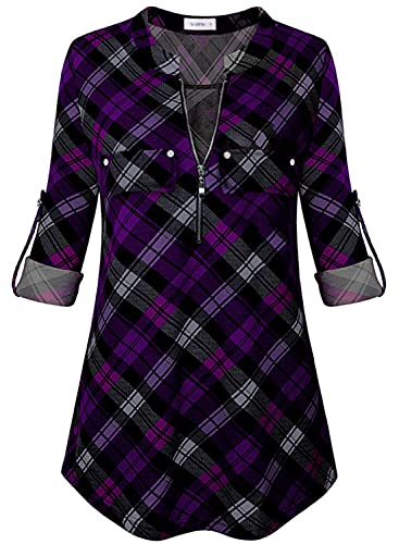 Siddhe Women's Tunic Tops, Zip Front V-Neck 3/4 Rolled Long Sleeve for Leggings Purple & Black Plaid Small