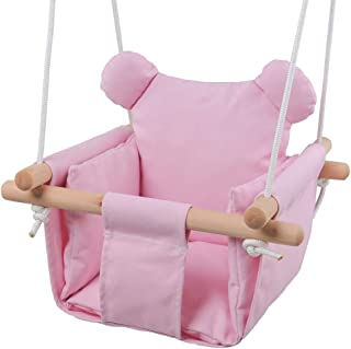 Jozeit Baby Kids Toddler Canvas Swing Seat Chair - with Cushion - Bear Ear Decor (Pink)