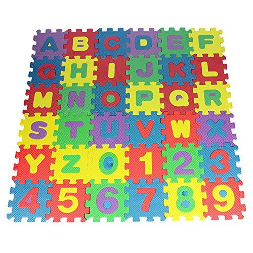 RISF Juego de 36 piezas para bebé niños alfanuméricos rompecabezas de espuma Bloques de juguete para regalo sólido tapetes de suelo para bebés/esterillas de juegos para niños
