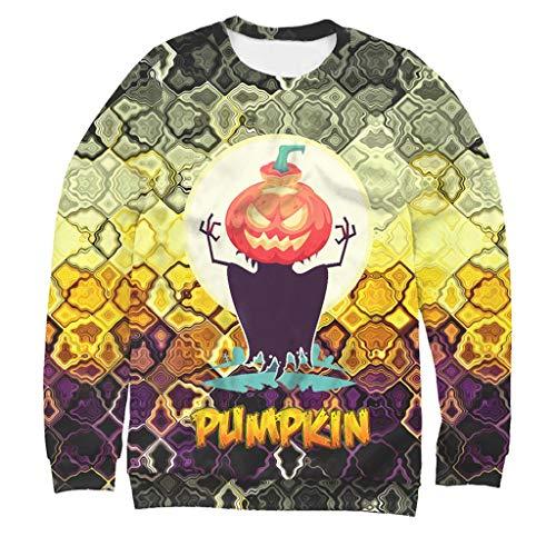 Sweatshirts WERVOTHalloween Herren 3D Hoodie Bunte Kombination Dreieck Druck Herren Langarm Pullover Halloween