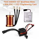 F540 3300KV Brushless Motor 4 Pole 12T 3.175mm Shaft with 60A ESC Electric Speed Controller and Programming Card Motor ESC Combo Set for 1/10 RC Car Flat Drifting Car 2S Lipo Battery