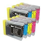 むさしのメディア BROTHER(ブラザー) LC10-4PKx2 (4色セットx2) 互換インクカートリッジ