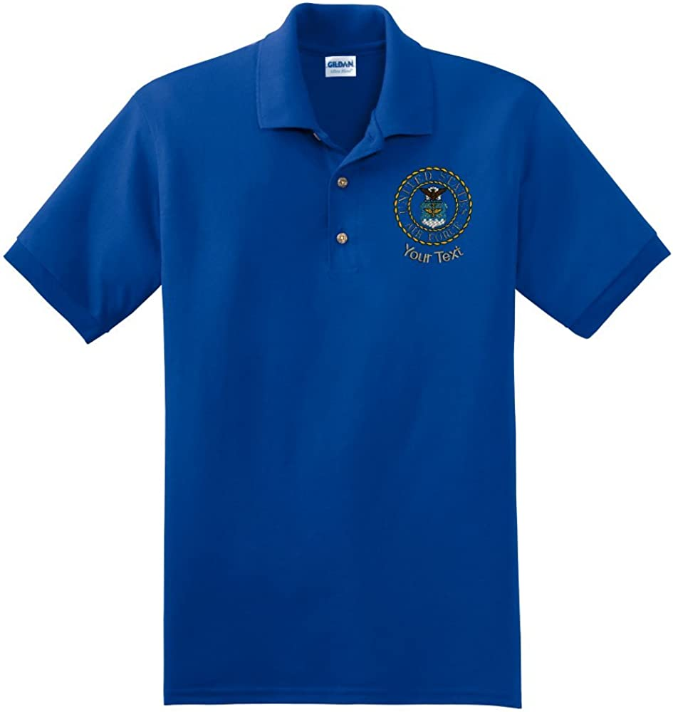 Personalized Custom Embroidered Air Force Emblem on Polo Shirt