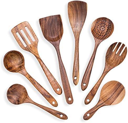 8Pcs Wooden Cooking Utensil Set Kitchen Utensils Set Teak Cooking Spoon Set Kitchen Utensils product image