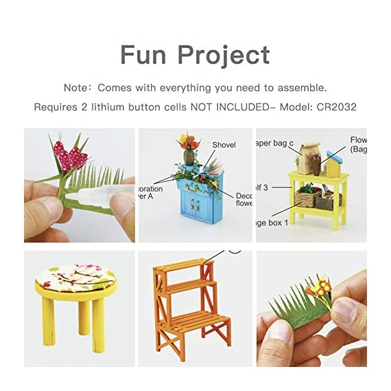 """Rolife DIY Dollhouse Miniatures Craft Kits for Adults (Kathy's Green House) 5 7.7"""" X 6.9"""" X 6.9"""" assembled, recommended age is 14 years or older. TOP GIFT for ADULTS AND KIDS.Ideal Christmas, birthday, or holiday gift for a gardener, hobbyist, or craftsperson. Great for a STEAM related gift too! Create an intricately detailed wooden flower house to capture and preserve the beauty of nature. The time spent building this miniature DIY greenhouse is as enjoyable as it is visually stunning."""
