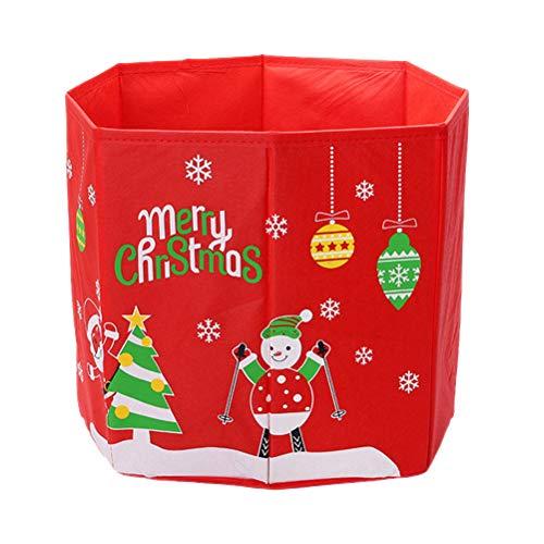 TOPBATHY Boîte de Rangement en Non-tissé Sapin de Noël Bonhomme de Neige à Motifs Boîte de Base Pliante Cache-Pied pour Arbre de Noël