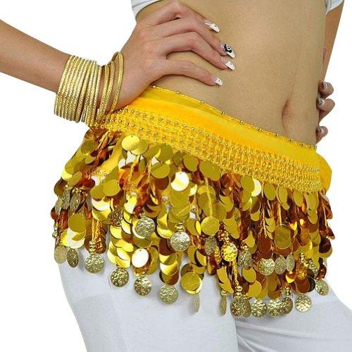 Jelinda Dance Ceinture Foulard Hip Jupe de Danse Brillant 88 pièces de Monnaie Plus de sécurité - Jaune - Taille Unique