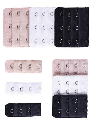 eBoot eBoot BraExtender Elastisch Büstenhalter Haken Erweiterung Bra Gurt Erweiterung, 3 Farben, 3 Größe, 9 Stück