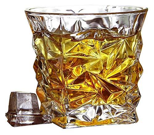SYZHIWUJIA Gafas de Whisky, vidrios de Cristal de Doble Pared de Moda, Gafas de Vodka Escocesa de cócteles Bourbon, Gafas de Beber, Conjunto de 4 Licorera