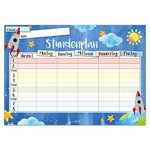 younikat Weltall Stundenplan I DIN A4 Papier-Block I zum Schulanfang für Jungs I zum Beschriften und Abreißen I dv_632