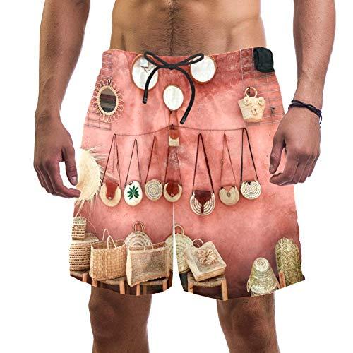 TIZORAX - Pantalones cortos de baño de mimbre, con cierre de cordón y sombreros, para la pared, rosa, para verano, Hawaii, playa, pantalones cortos de baño, con cordón de ajuste y forro de malla 1 M