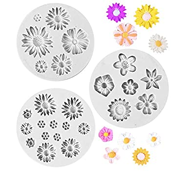BoomYou 3PCS Silicone Fondant Cake Decorating Daisy Flower Sun Flower Mold for Chocolate Baking Sugar Craft Polymer Clay Soap Cupcake Mini Flower – Gray Style 1