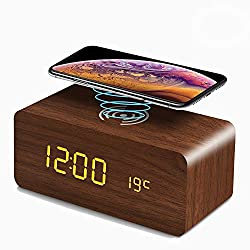 Foxnoo Desk Clock LED Digital Clock Wood Table Clock with Wireless Charging/Date/Temperature Display(Brown)
