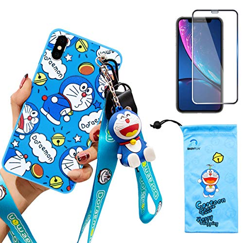 iPhone X/XS case with HD Screen Protector, Cute Doraemon Cartoon Anime 3D Character Silicone Cover Case for Apple iPhone X/XS 5.8' with 2 Lanyard, 1 Cell Phone Stand, 1 Phone Storage Bag