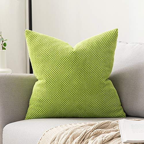 """MIULEE 1 Stück Granulat Kissenbezug Ananas Weiches Massiv Dekorativen Quadratisch Überwurf Kissenbezüge Kissen für Sofa Schlafzimmer 16\""""x16\"""", 40 x 40 cmGelbgrün"""