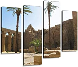 Architecture at Karnak Temple in Egypt Canvas Print Artwork Wall Art Pictures Framed Digital Print Abstract Painting Room Home Office Decor Ready to Hang 4 Panel