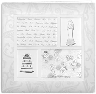 Pioneer 12 Inch by 12 Inch Postbound 4-Frame Fabric Cover Memory Book, White