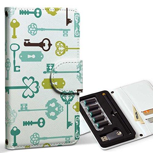 スマコレ ploom TECH プルームテック 専用 レザーケース 手帳型 タバコ ケース カバー 合皮 ケース カバー 収納 プルームケース デザイン 革 その他 鍵 模様 005961