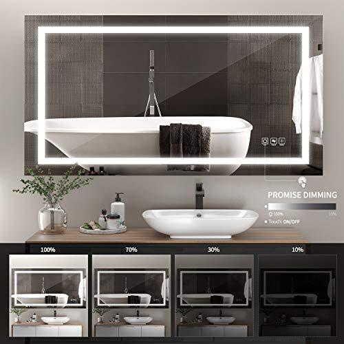 51 ha1XSReL - ANTEN 40x24 Inch LED Bathroom Mirror, Horizontal/Vertical Anti-Fog Bathroom Mirrors for Wall, 3000-6000K Dimmable LED Lighted Vanity Mirror