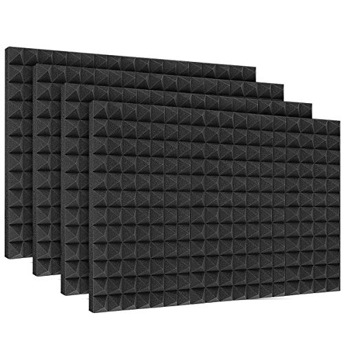 "DEKIRU Sound Proof Padding Foam Panels, 24 Pack 2"" X 12"" X 12"" Acoustic Foam Panel Studio Foam Pyramid Tiles Sound Absorbing Dampening Foam Panels Wall Soundproofing Treatment,Black (With Tapes)."