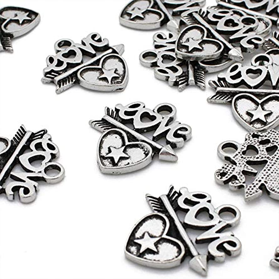 Beads Unlimited Love Charm, Silver, 21x24mm