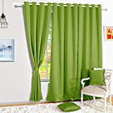Story@Home Blackout Eyelet 2 Piece Faux Silk Ring top Door Curtain-7 feet, Forest