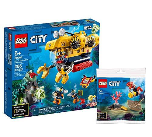 Collectix Lego Set - City Meeresforschungs-U-Boot 60264 + Tiefseetaucher 30370 (Polybag), Geschenkset ab 5 Jahren