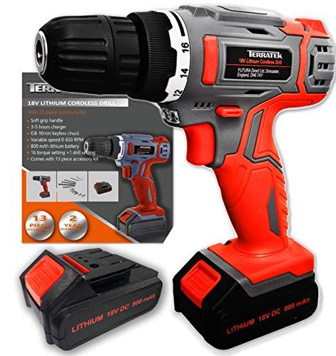 Terratek Cordless Drill with 2 Batteries 13Pc - 18V/20V-Max...