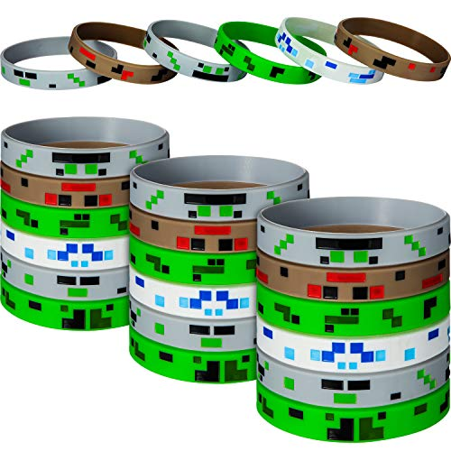 36 Pieces Pixelated Miner Theme Style Character Wristband Bracelets Silicone Wristbands, Pixelated Theme Bracelet Designs for Mining Themed Style Party Supplies (36 Pieces, Style 1)