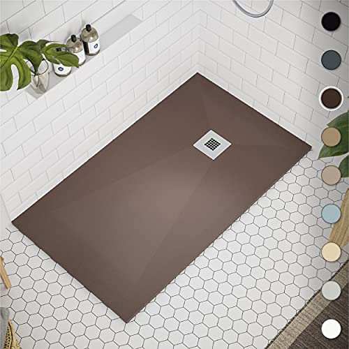 Shower Tray 700 x 1100 Stone Resin Allier - Anti Slip and Low Profile - Matte Finish and Smooth Texture - All Sizes Available - Shower Waste and Stainless Steel Grid Included - Chocolate RAL 8017