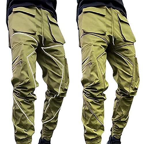 Reflective Cargo - Pantalones largos para hombre, sueltos, informales, para correr, para el tiempo libre, tácticos, básicos, chinos, senderismo, softshell, verde militar, M