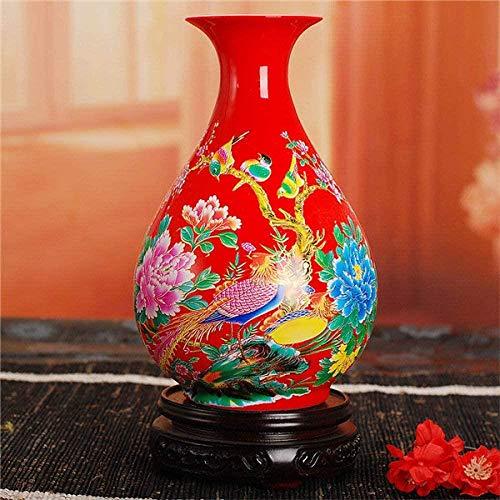 Vaas decoratie Jingdezhen keramische vaas Home Decoration Vazen met bloemen en vogels Lotus en vis patroon, 3,11 (Color : 12)