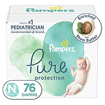 Diapers Newborn/Size 0  <10 lb  76 Count - Pampers Pure Protection Disposable Baby Diapers Hypoallergenic and Unscented Protection Super Pack  Packaging May Vary