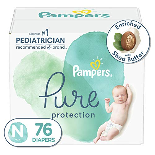 Diapers Newborn/Size 0 (<10 lb), 76 Count - Pampers Pure Protection Disposable Baby Diapers, Hypoallergenic and Unscented Protection, Super Pack (Packaging May Vary)