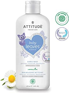 ATTITUDE Natural Baby Bubble Wash, EWG Verified, Hypoallergenic, Almond Milk, 16 Fluid Ounce (473 mL)