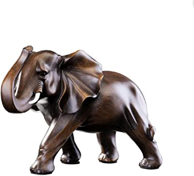 RUIHAI Feng Shui Elephant Statue Rosewood Color Wealth Lucky Figurine Office Home Decor Sculpture Gift