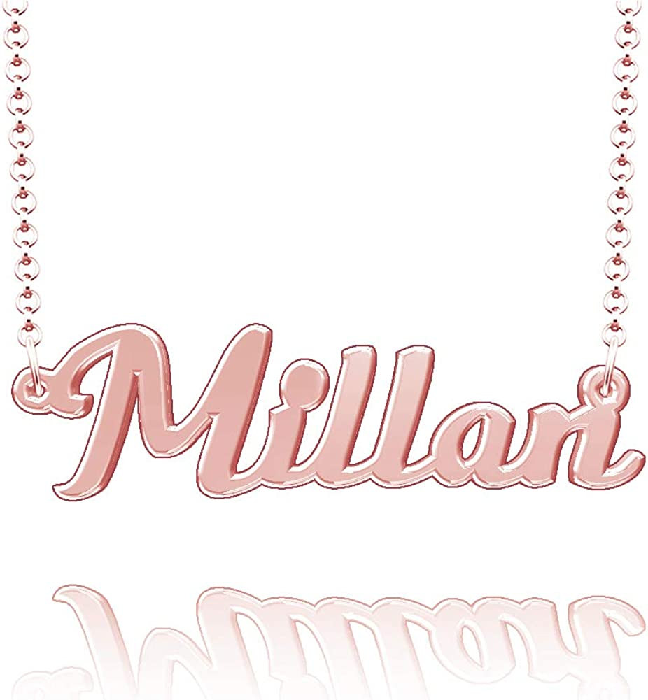 LoEnMe Jewelry Customized Millan Name Necklace Stainless Steel Plated Custom Made of Last Name Gift for Family