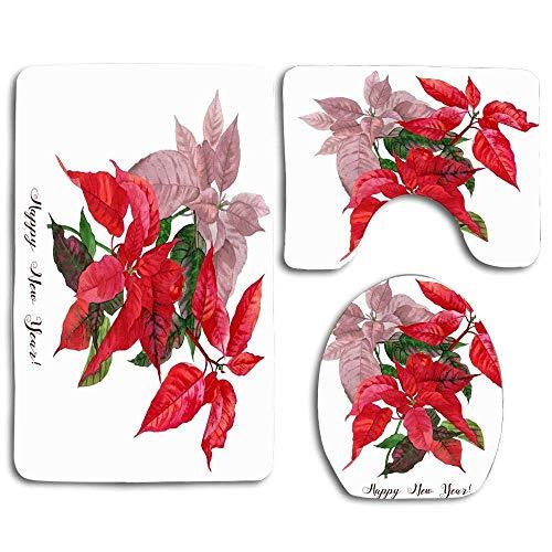 Acuarela Verde Navidad Poinsettia Vacaciones Naturaleza Ramo Rojo Rama Diciembre Eva Diseño Floral 3 Piezas Juego de alfombras de baño, Alfombra de baño Alfombra de baño Antideslizante Decoración del