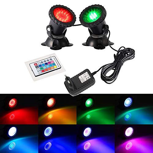 DOCEAN LED Unterwasserlicht RGB Farbwechsel Unterwasserleuchte Unterwasser Beleuchtung Aquarium Lampe Strahler Teichbeleuchtung mit 24 Key RF Fernbedienung für Garten, Schwimmbad, Teich